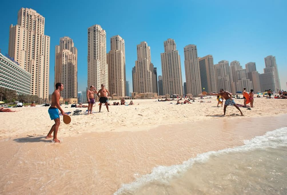 Enjoy the long beach shore at the JBR beach