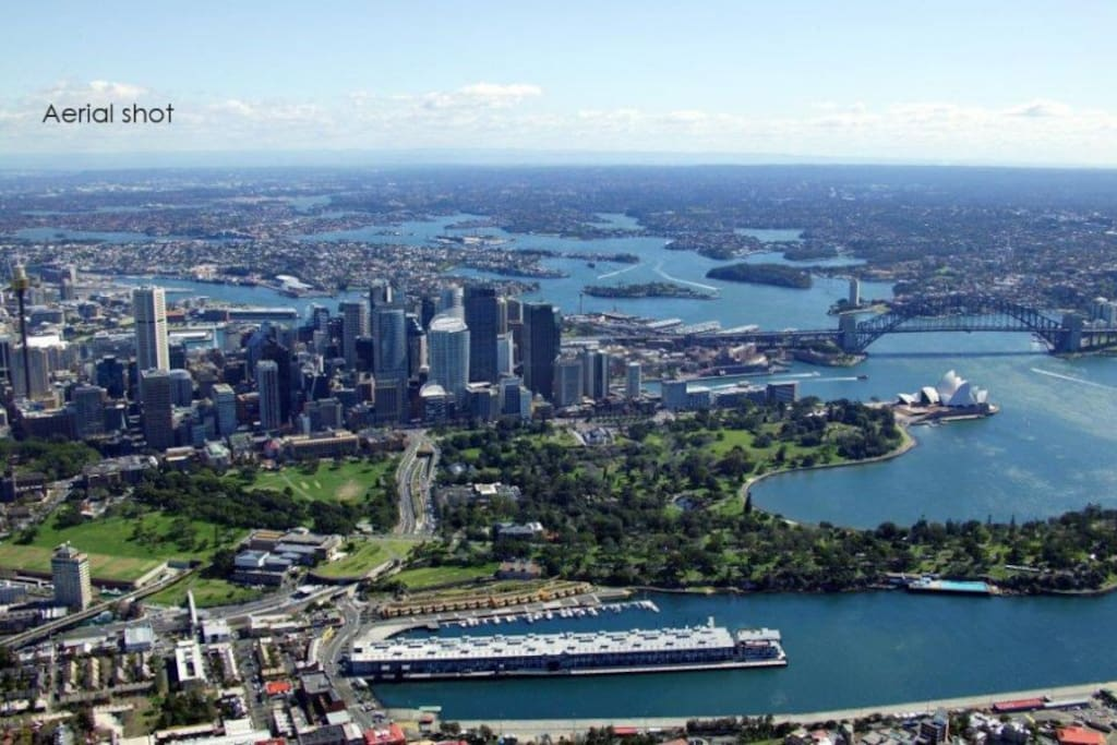 Aerial view showing proximity of Finger Wharf to Sydney and it's attractions