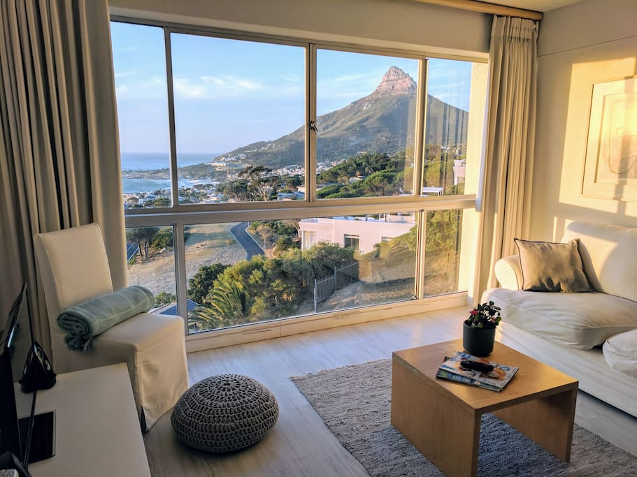 View of lion's head, camps bay and clifton from the the living room.