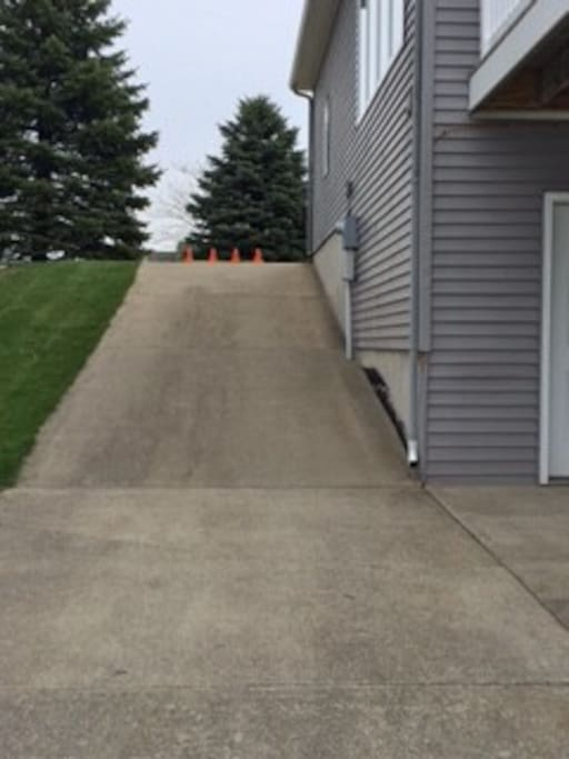 This is the boat ramp path to your door. If this is too steep for you to maneuver, please inquire ahead of booking and if we will be home, we can arrange the use of inside stairs.
