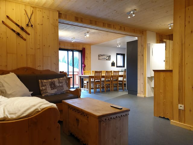 Large apartment in a chalet ski in and ski out
