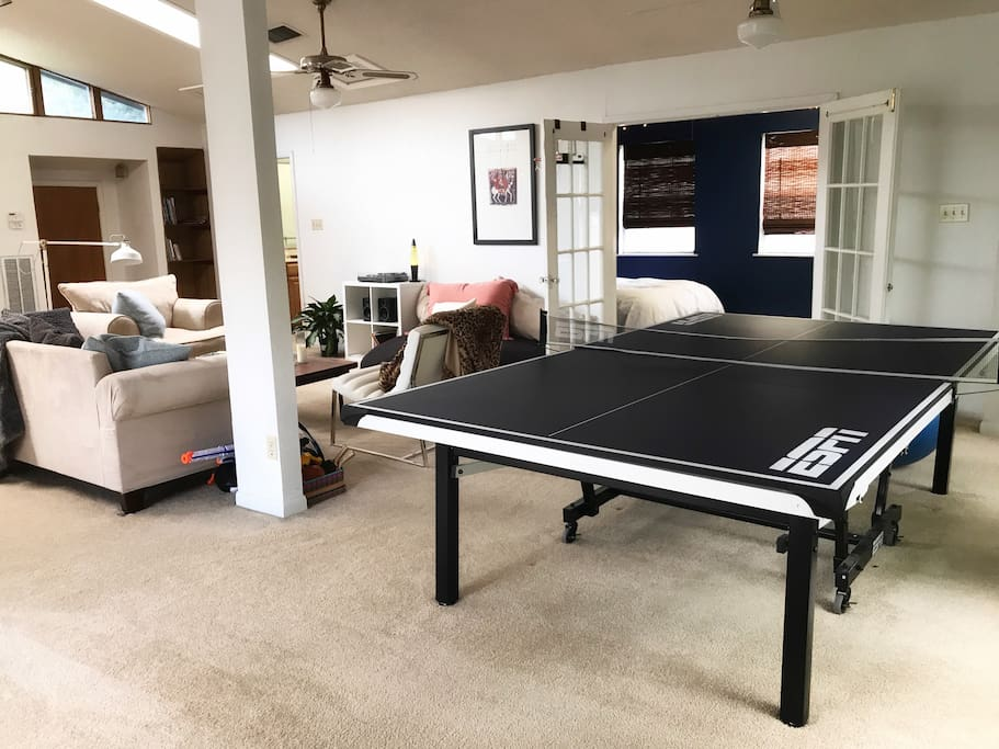 Ping pong table and living area.