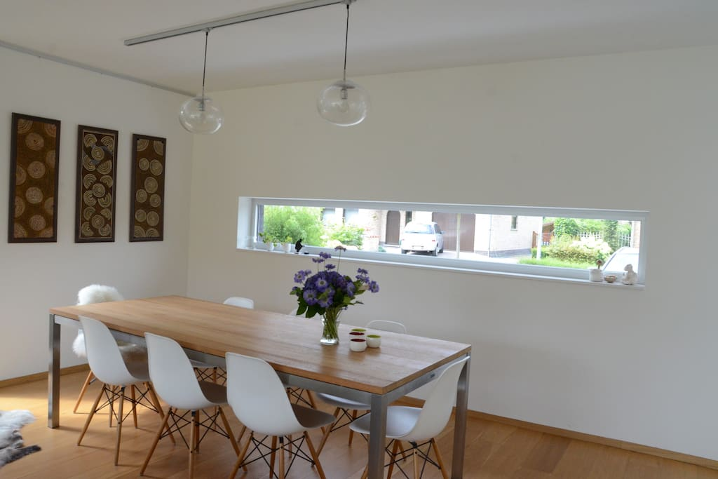 Dining area with Eames chairs.