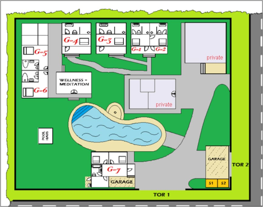 You will be accomodated in 3 of the houses Banana (G3), Mangosteen (G4), Lychee (G5) and Ananas (G6)