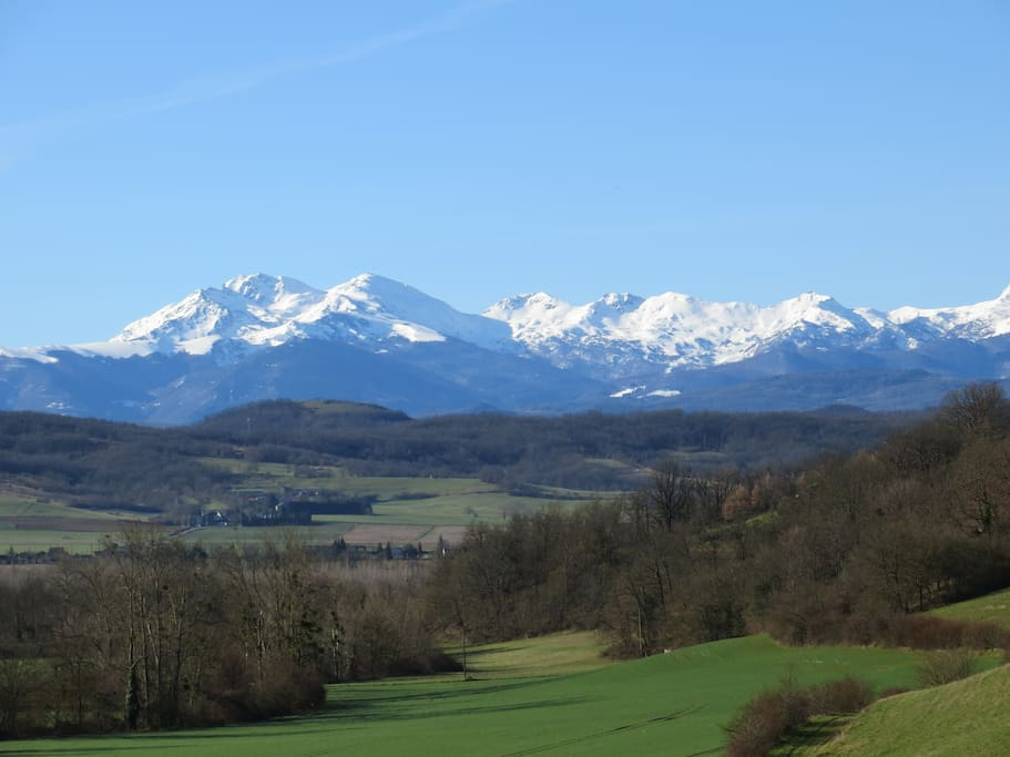 View from Le Cazal across fields to the beautiful Pyrenees