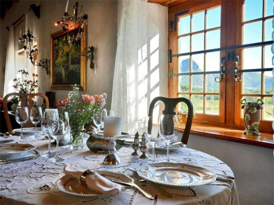 Delicious Traditional  Breakfast in the Dinning Room with a view of the mountains.