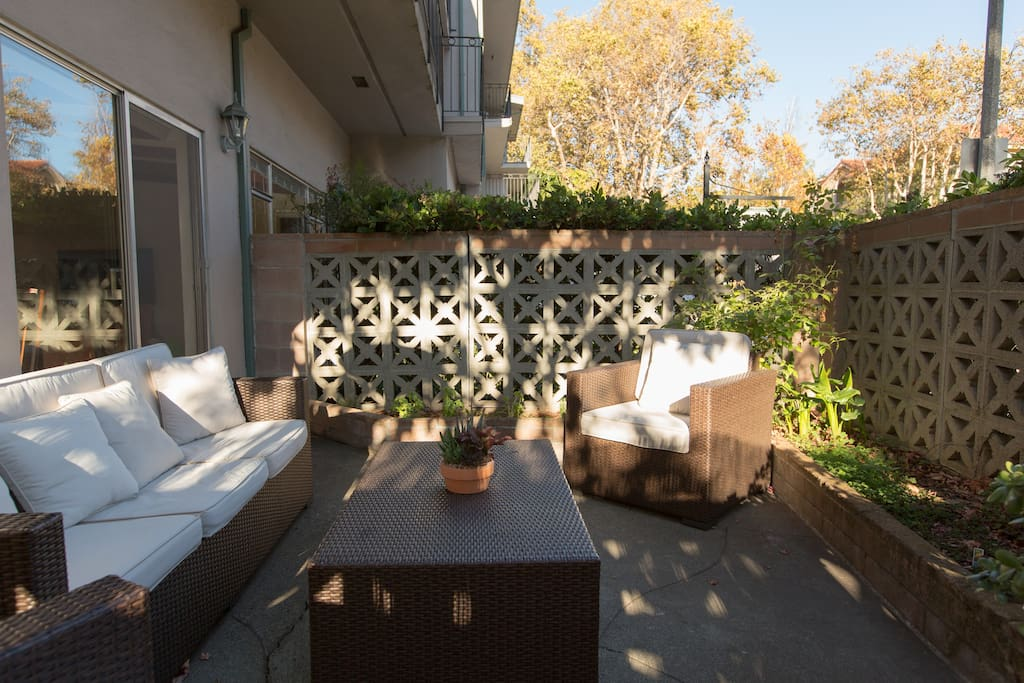 Private patio with comfortable seating and outdoor heater
