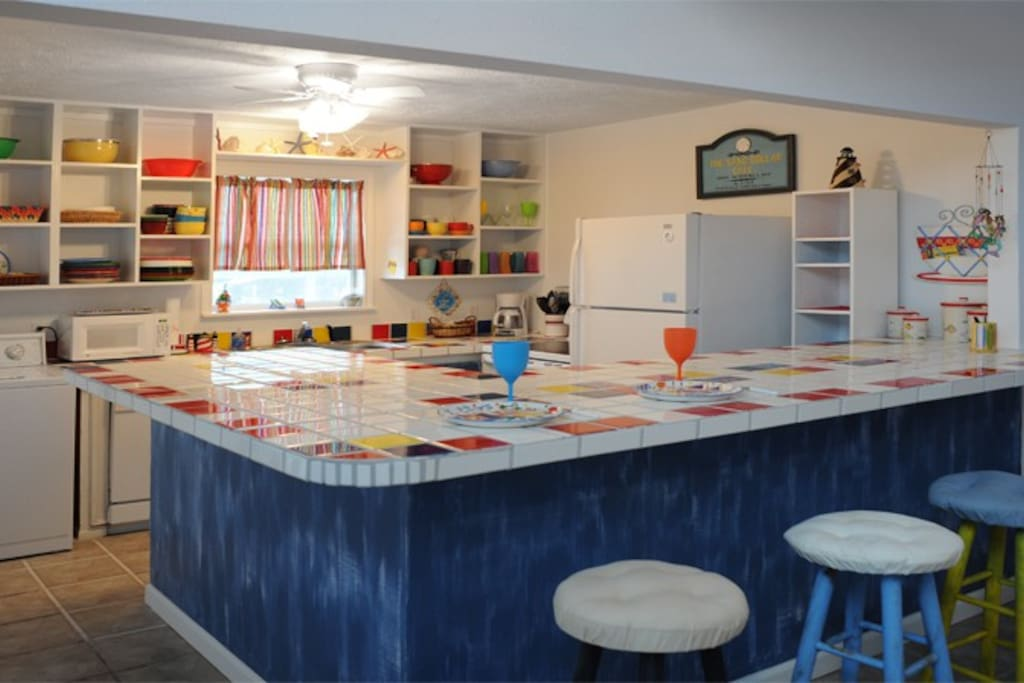 Colorful and fun kitchen.