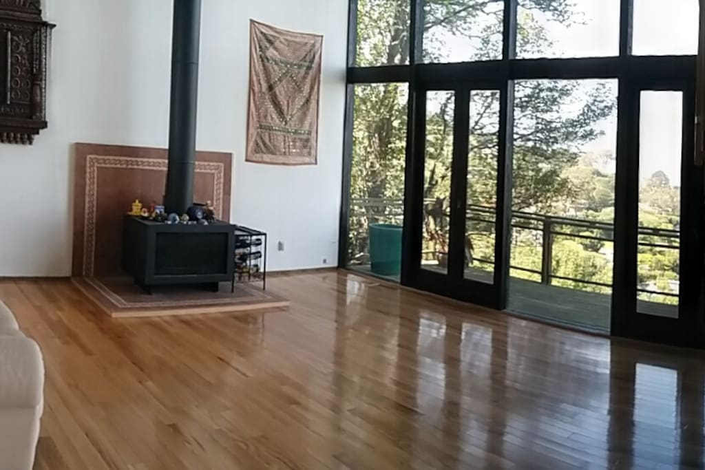 Living room with high ceiling and tall windows. Also a 55 inch TV.