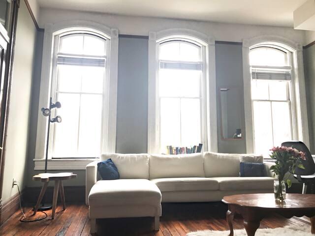 Beautiful U shaped windows give the place a lot of natural light.
