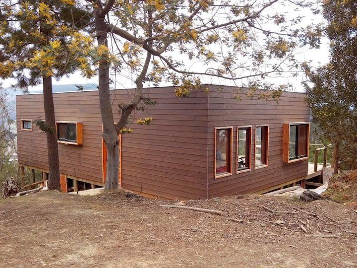 Acuarela Vichuquén, Casa y Refugio en el lago.