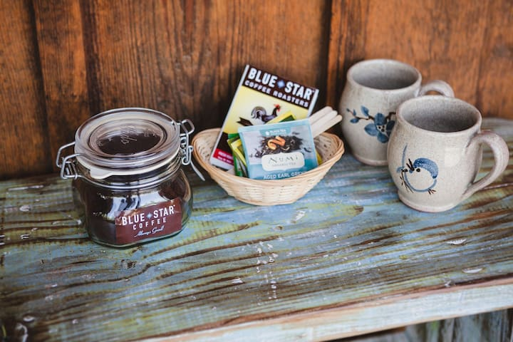 Our House is always stocked with local coffee and yummy teas!