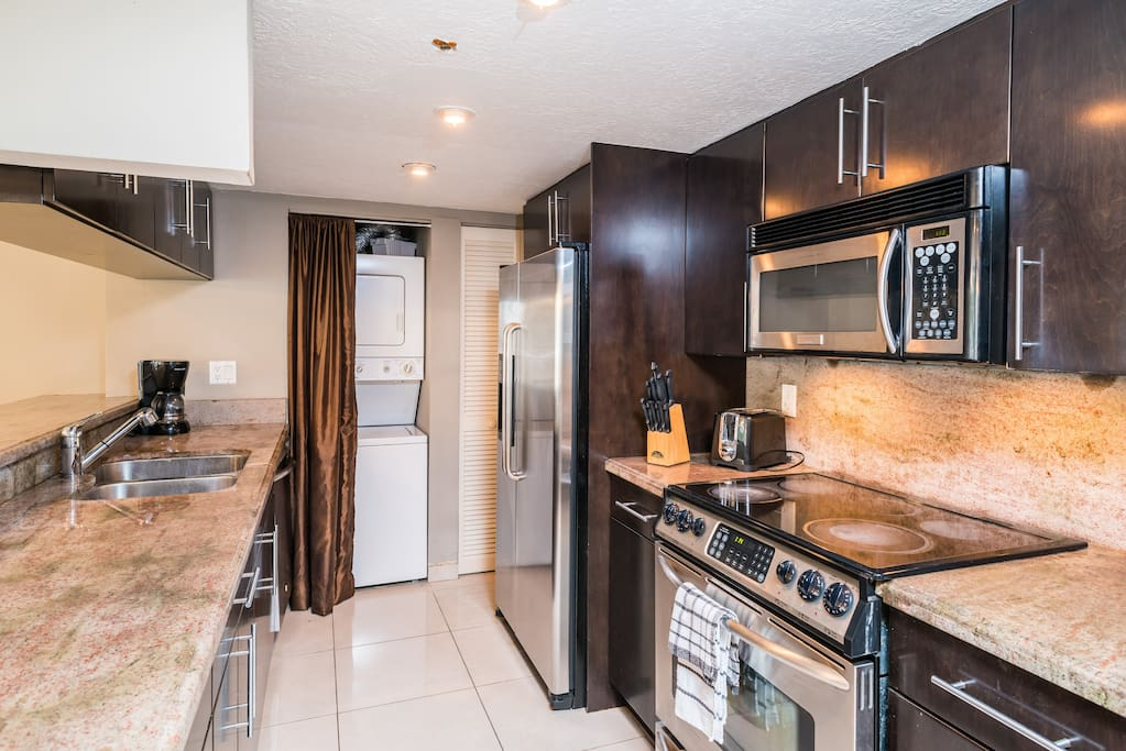 Modern kitchen with everything you'll need including washer/dryer