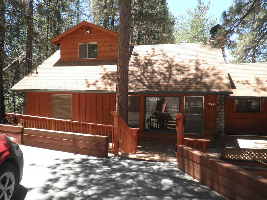 This is the front of our cabin. There is plenty of level off-street parking.