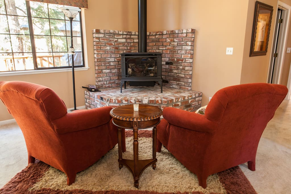 Gas fireplace; real flame with none of the hassle. A cozy place to sit with a good book and a hot chocolate.