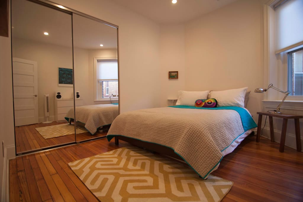 Bedroom 2 with double bed and large fitted closet.