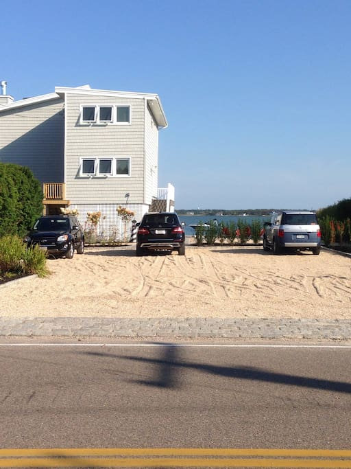 View from dune road. Plenty of parking . 5 minute walk to the best ocean beach on dune road!