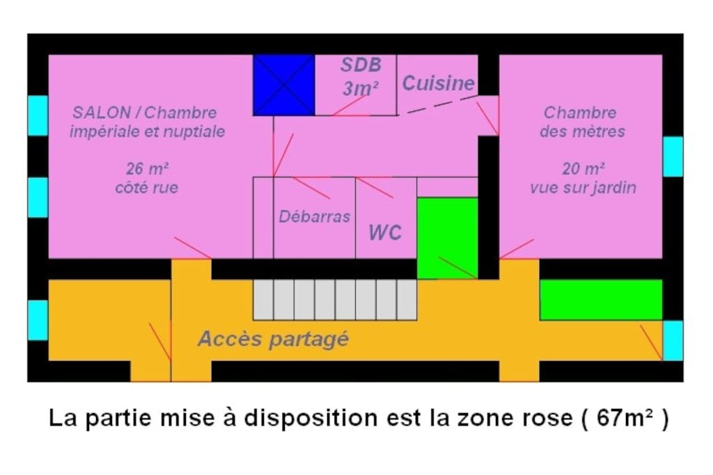 Plan du logement mis à disposition (en rose)