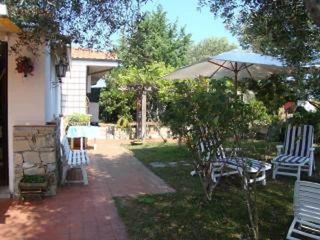 giardino con spazi  ombra circostante la villa