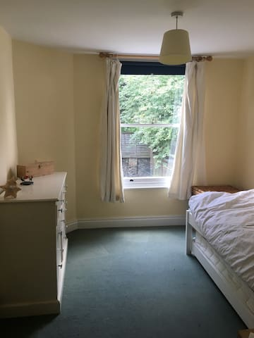 Double bed, light and airy room.