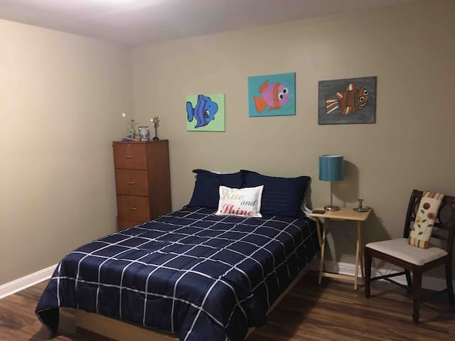 This cozy bedroom has a full sized bed with memory foam topper to make the bed extra comfortable as you slip between the soft sheets for a relaxing night of slumber! Extra blankets are provided!