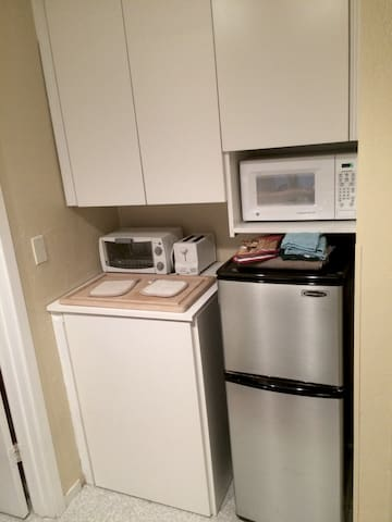 Kitchenette - Microwave, Toaster Oven, Refrigerator