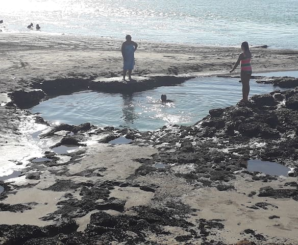 25min walk and find a great swimming hole 2 hrs either side of low tide