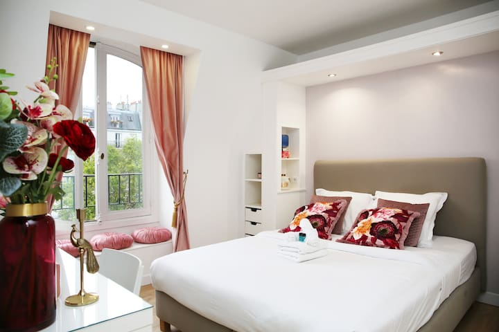 The flat has a very comfortable bedding  for 2 persons with incredible panoramic view down to Pigalle :)