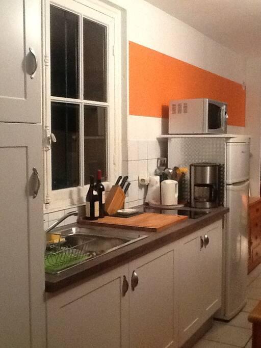 Coin cuisine aménagé, plaque vitrocéramique, micro ondes, cafetière,...