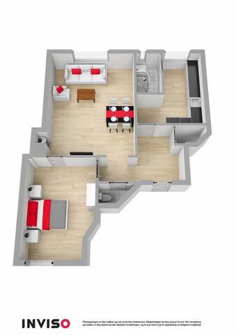 Oversiktsbilde over leiligheten. Rommet som leies ut er det som fremstilles som stuen i tegningen.