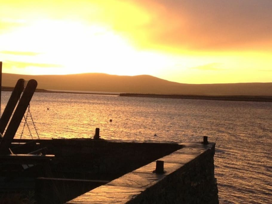 Sunset at 4 South End, Anderson Harbour Cottages, Stromness, Orkney, Scotland