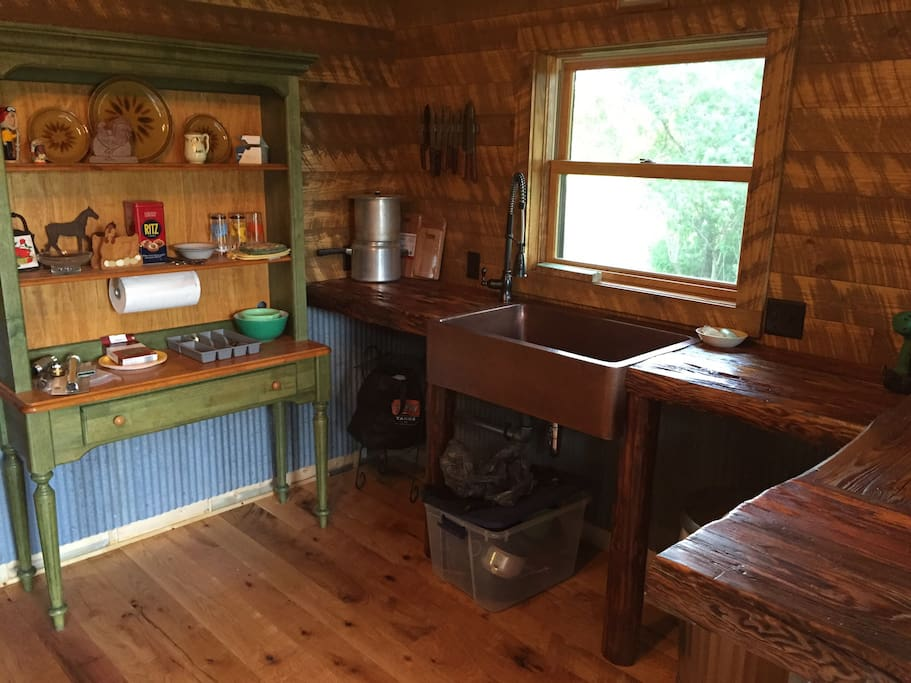 View of the kitchen. Note there are no appliances.  There is an electric griddle and slow cooker for use at the property.