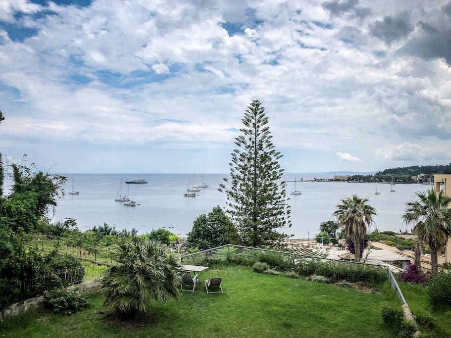 View to Garitsa Bay from the apartments balcony and private garden.