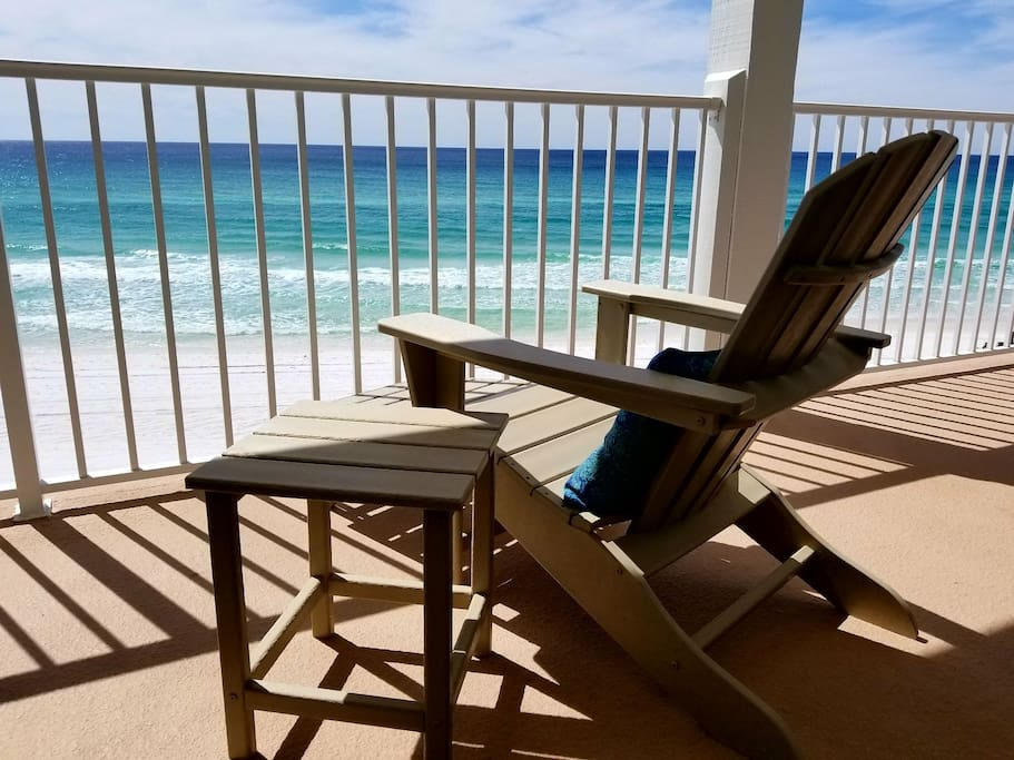 Two lounge chairs outside your bedroom door on your 3rd floor balcony overlooking the beautiful Gulf
