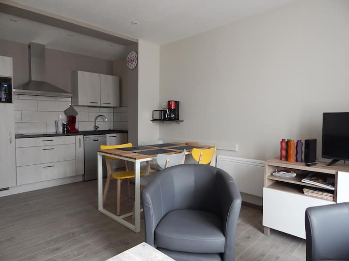 appartement rdc neuf, proche centre et lac, jardin
