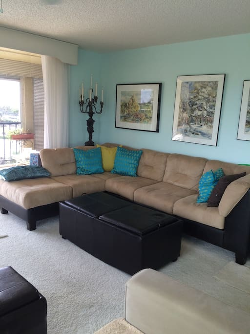 The larger sofa along the south wall of living area