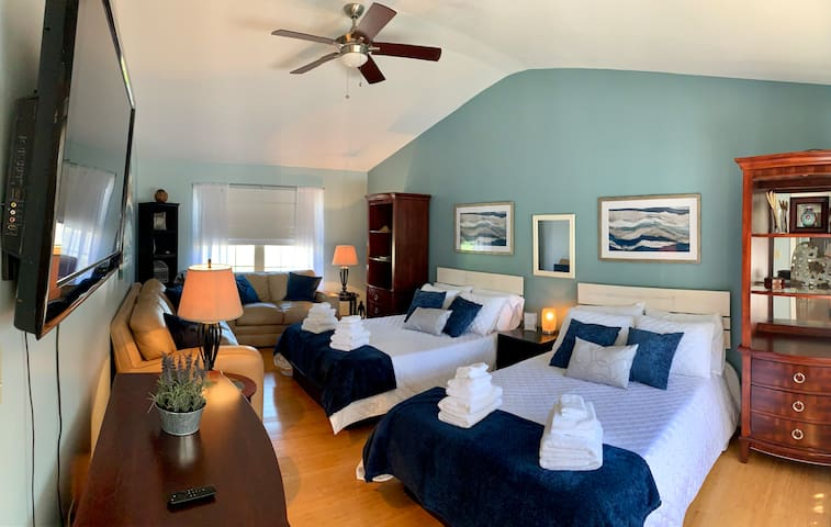 Every bedroom offered in home is equipped with comfortable linens, flat screen television, fan, and privacy/ temperature control window coverings.