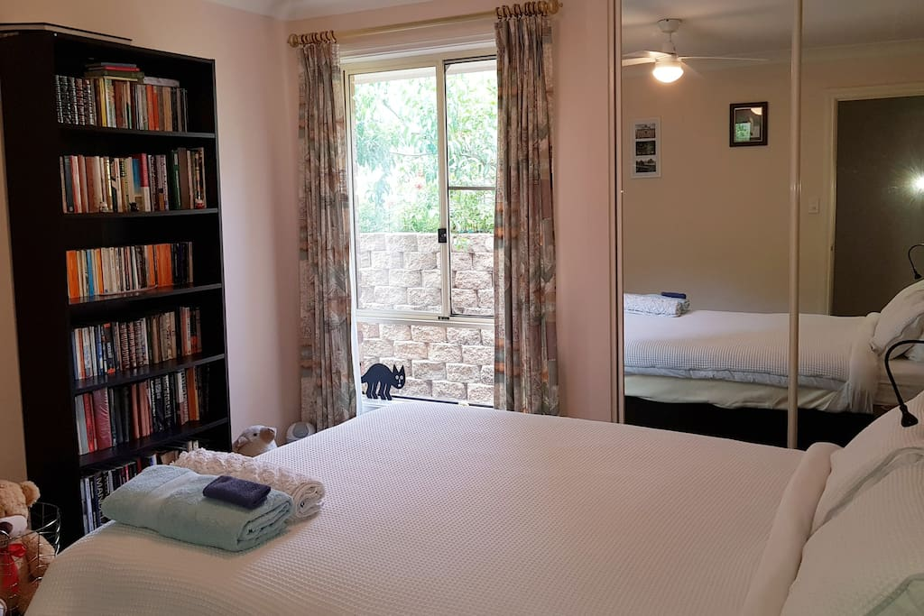 Comfy room with nice view and loads of books to curl up with.