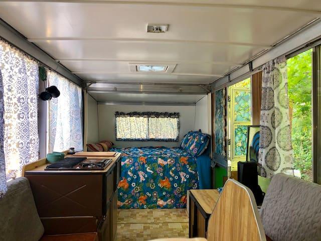 Vintage Apache Camper on Farm Lush no fuss