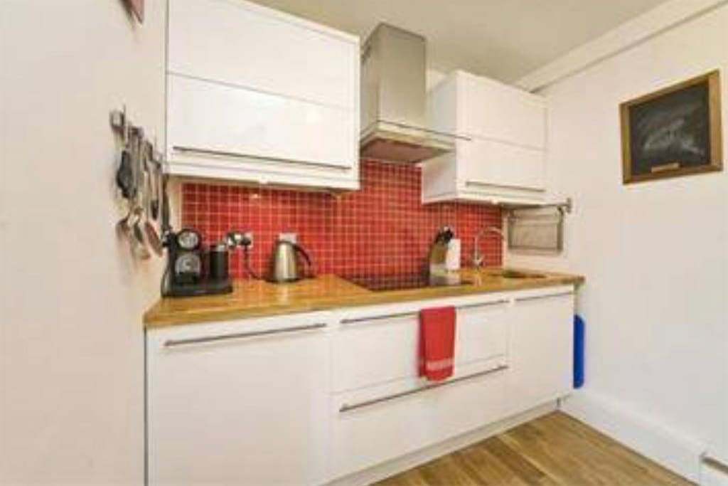 The galley style kitchen