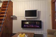 TV with DVD and Net Flix. and electric fireplace