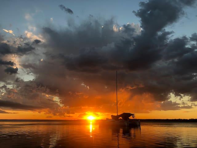 Romantic night on a 30ft Catamaran linen provided