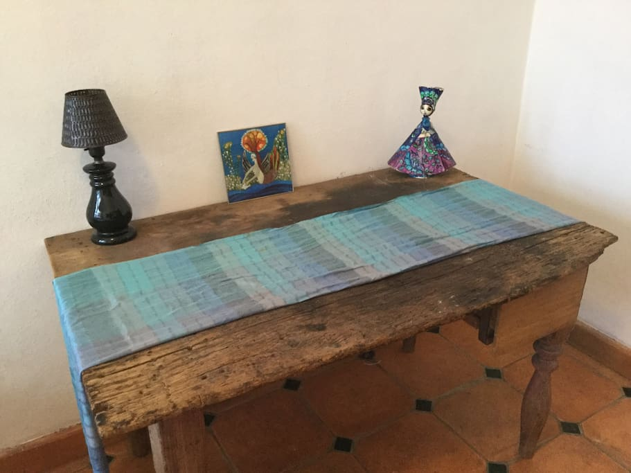 Antique table in bedroom for your lap top, your breakfast or both.