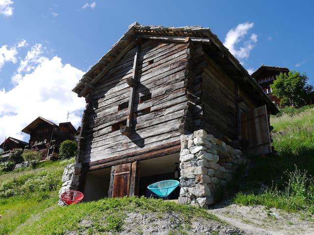 mayen à Etienne, Val d'Hérens, Valais, Sion Suisse - Evolène - Cabaña