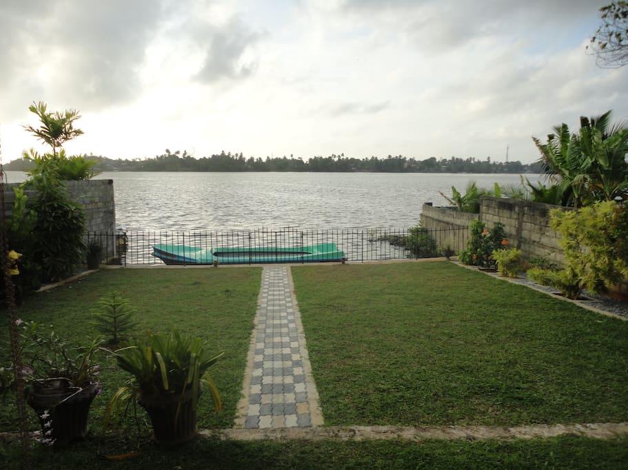 infront of river veiw in  garden