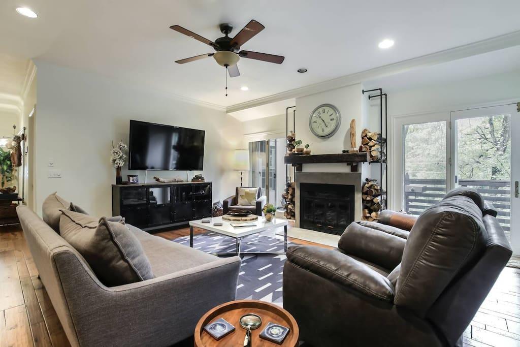 Living Room w/ Large Sofa for Sleeping