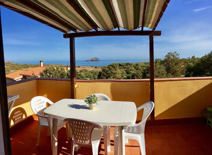 Panoramico bilocale 16C al mare sud Sardegna