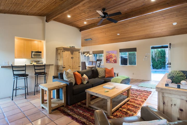 The inviting main living area opens to the backyard