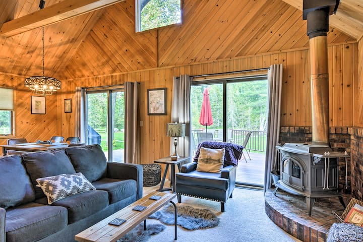 The charming interior features vaulted ceilings.