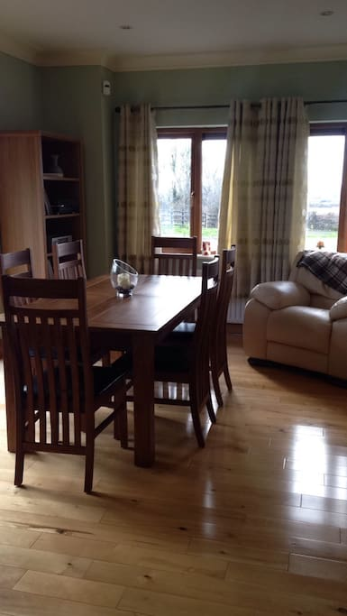 Extendable dining area with patio doors